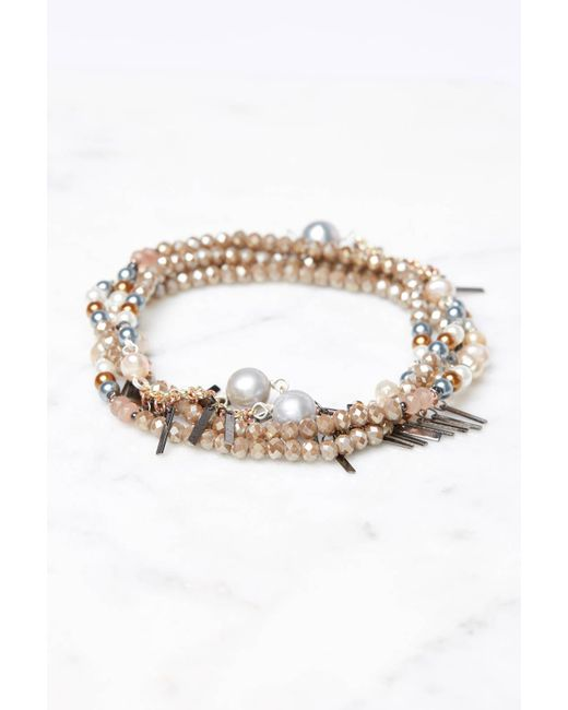 South Moon Under - Metallic Taupe Multiway Mixed Beaded Bracelet - Lyst