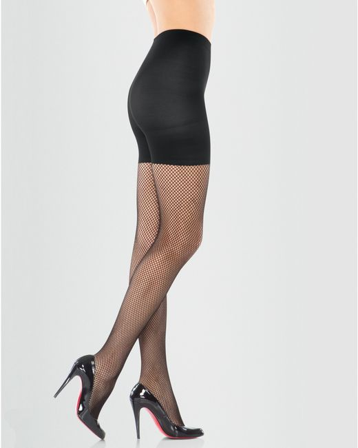 Spanx black fishnet tights lyst