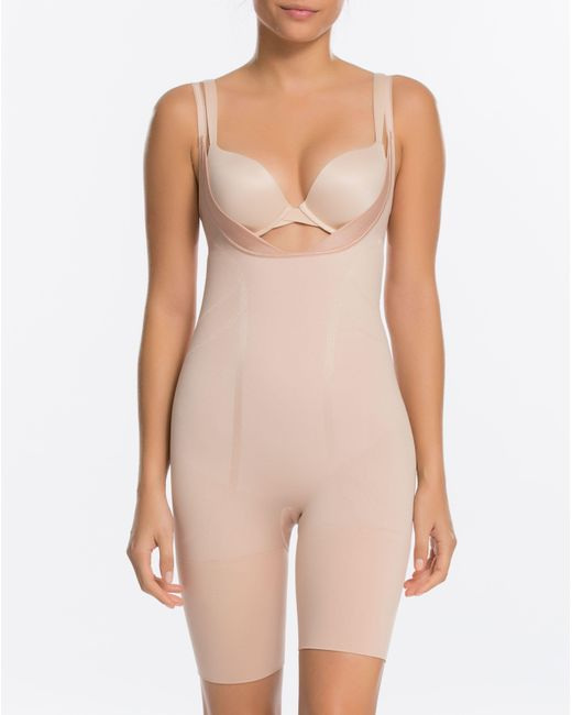 Spanx   Pink Slim Cognito® Open-bust Mid-thigh Bodysuit   Lyst