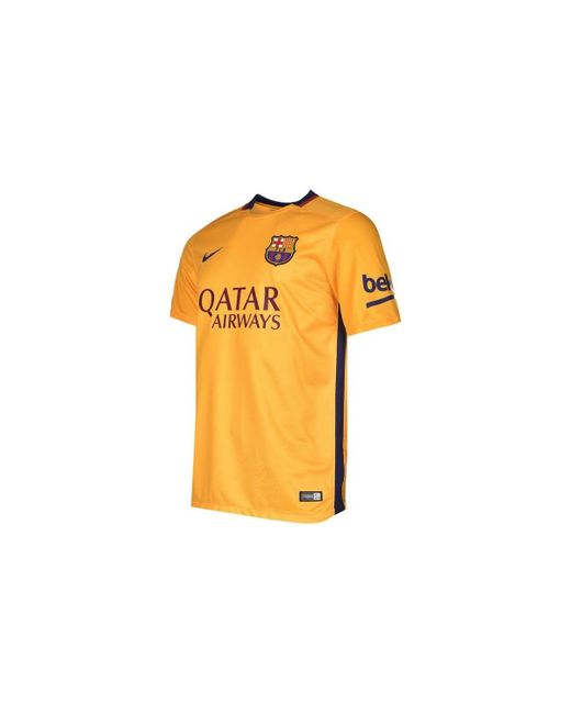 112ca84f7 ... official nike 2015 2016 barcelona away shirt kids mens t shirt in yellow  e825e a0dc9