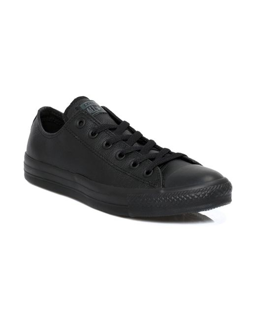 282056d209f1d3 Converse - Mens Womens Black All Star OX Leather Trainers hommes Chaussures  en Noir for Men ...