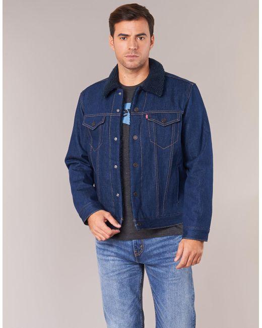 48ff3fdfeaec ... Lyst Levi's - Levis Type 3 Sherpa Trucker Men's Denim Jacket In Blue  for Men ...