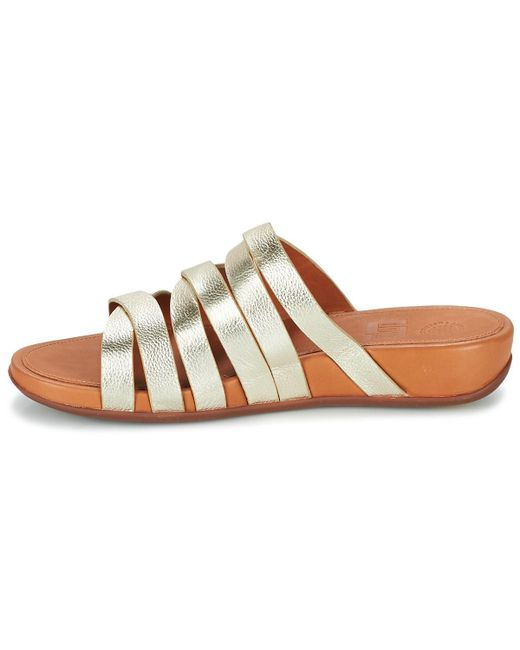 a94313a189d4 ... Lyst Fitflop - Metallic Lumy Leather Slide Women s Mules   Casual Shoes  In Gold ...