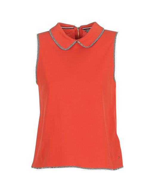 Tommy Hilfiger - Britnee-bindin-pq-polo Women's Polo Shirt In Orange - Lyst