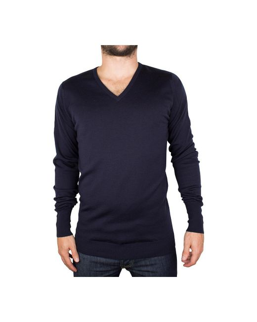 John Smedley - Men's V-neck Knit, Blue Men's Sweater In Blue for Men - Lyst