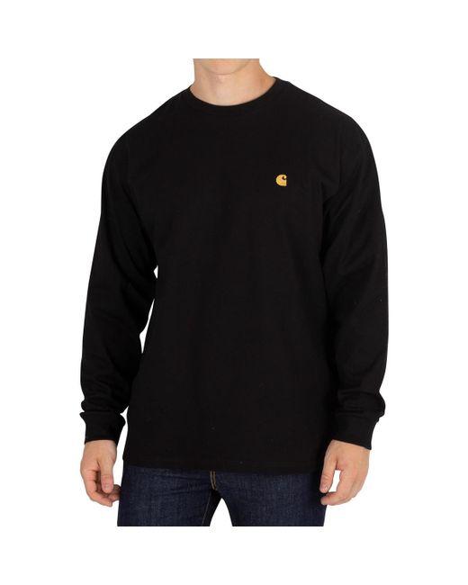 Carhartt WIP - Men's Chase Longsleeved T-shirt, Black Men's In Black for Men - Lyst