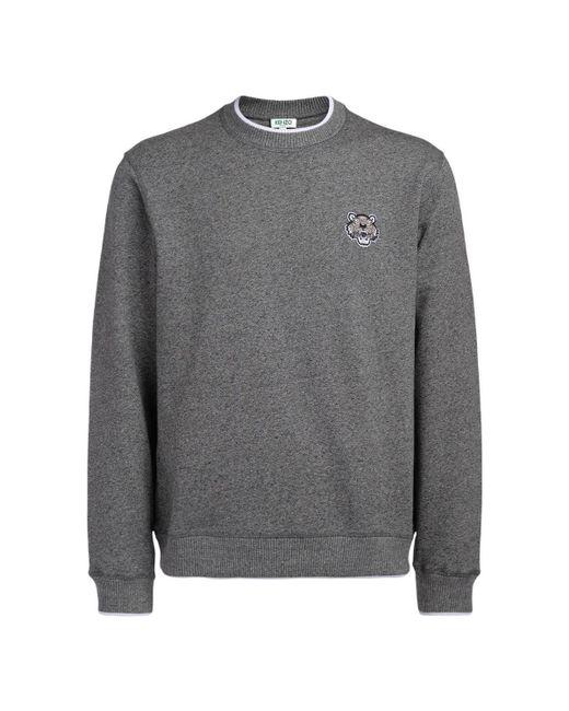 KENZO - Gray Grey Fleece With Tiger Logo Men's Sweatshirt In Grey for Men - Lyst