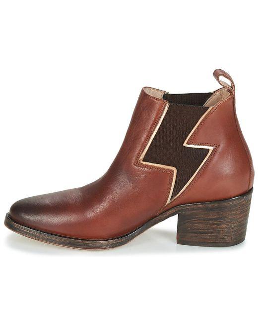Santiagbottines cuir femmes pour en brun 4Rj5AL