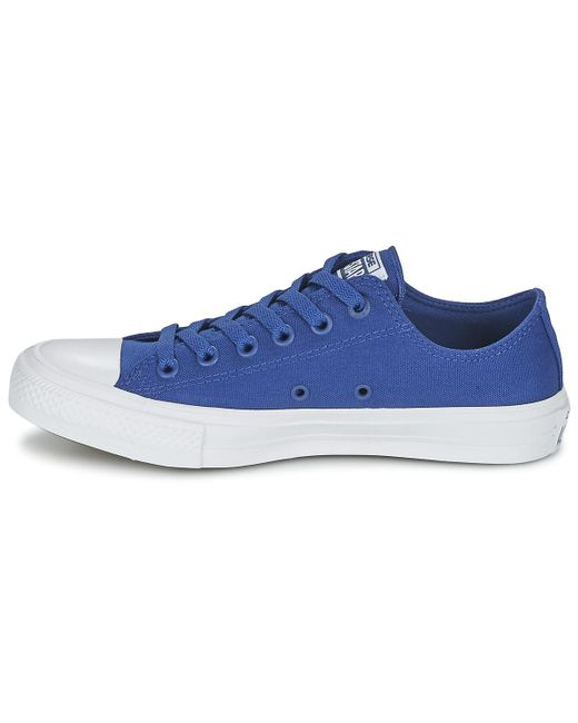 66f54fb4c707 ... Converse - Chuck Taylor All Star Ii Ox Women s Shoes (trainers) In Blue  ...