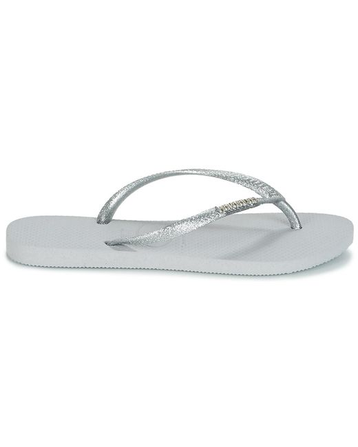 2db18153421c9b ... Havaianas - Gray Slim Logo Metallic Women s Flip Flops   Sandals  (shoes) In Grey ...