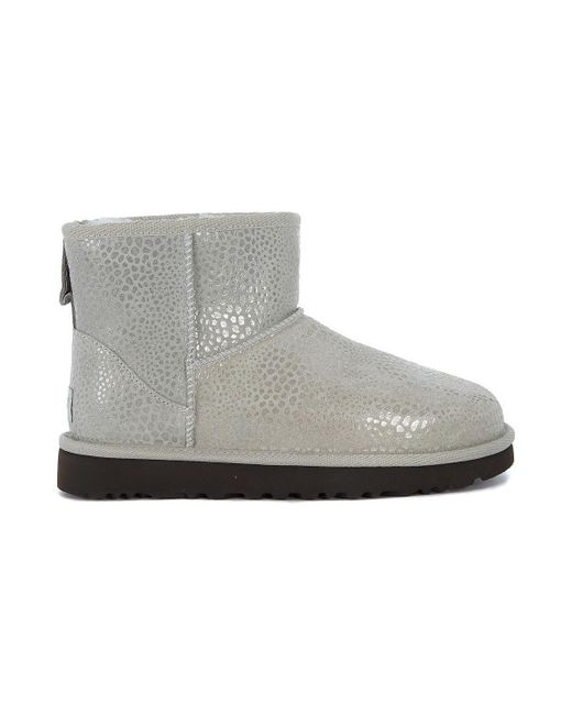 Ugg - Gray Classic Mini Glitzy Ankle Boots In Reptile Effect Suede Women's Mid Boots In Grey - Lyst