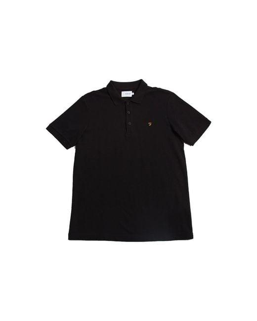 Farah - Blaney Short Sleeve Polo Shirt Black Men's Polo Shirt In Black for Men - Lyst