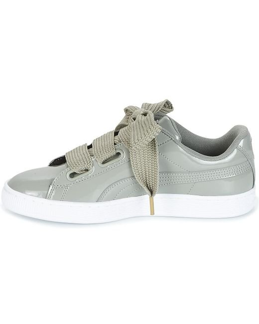 new product 86d5d a5c4c ... Lyst PUMA - Gray Basket Heart Patent W s Women s Shoes (trainers) In  Grey ...