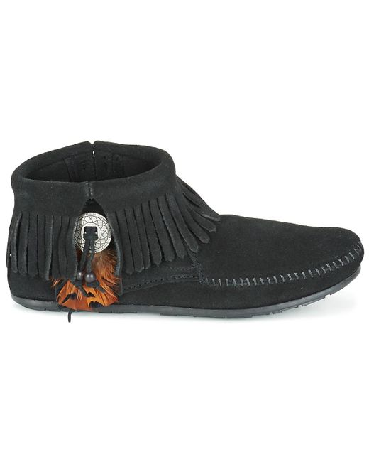 8ca829c2c8c Minnetonka Concho Feather Boot Women s Mid Boots In Black in Black ...