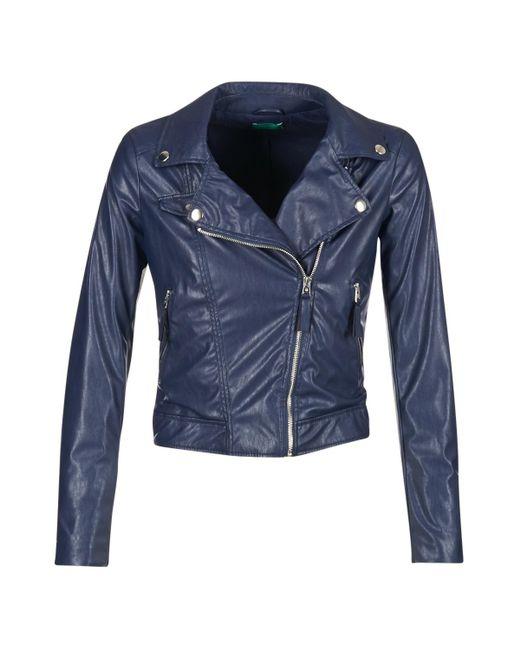 Benetton - Ferdoni Women's Leather Jacket In Blue - Lyst