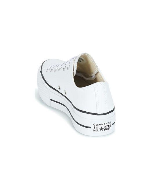 7d22b2b64371a ... Converse - White CHUCK TAYLOR ALL STAR LIFT CLEAN OX femmes Chaussures  en blanc - Lyst ...