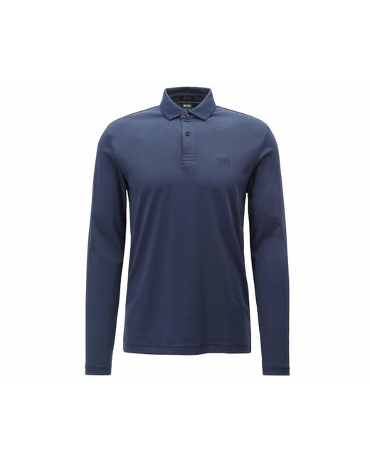 d8a94ff6 Boss Pirol Long Sleeves Polo Shirt Blue in Blue for Men - Lyst