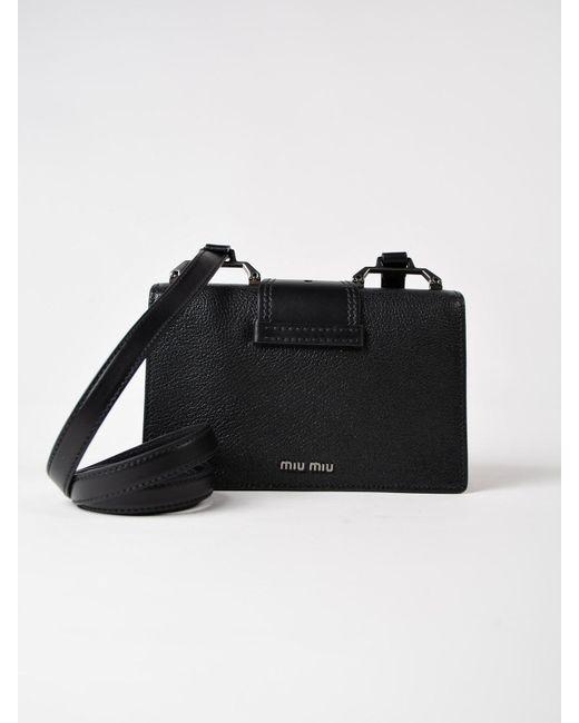 0223e45048ef ... Miu Miu - Black Madras+soft Calf Crossbody - Lyst ...