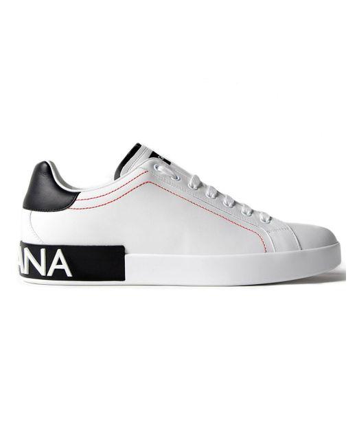 Dolce & Gabbana | White Low Top Sneakers Logo Heel for Men | Lyst