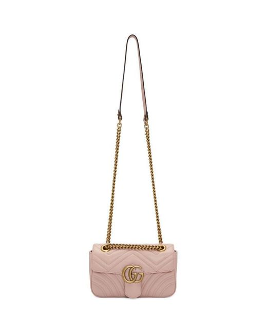 Gucci | Pink Gg Marmont Small Leather Shoulder Bag | Lyst