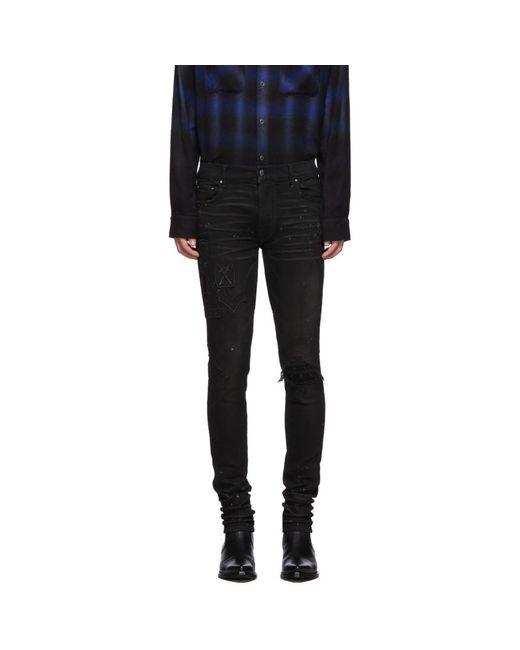 Amiri Black Paint Military Patch Jeans for men