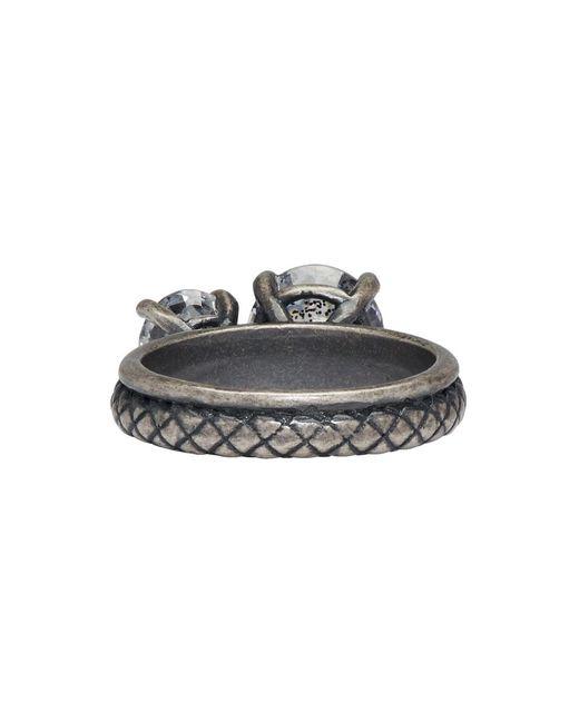 Bottega Veneta Silver Twin Band Cubic Zirconia Ring LNwueOVz