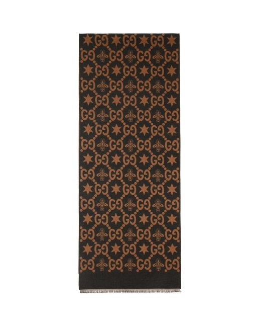 Gucci - Blue Foulard brun et gris Jacquard Bees and Stars GG for Men - Lyst