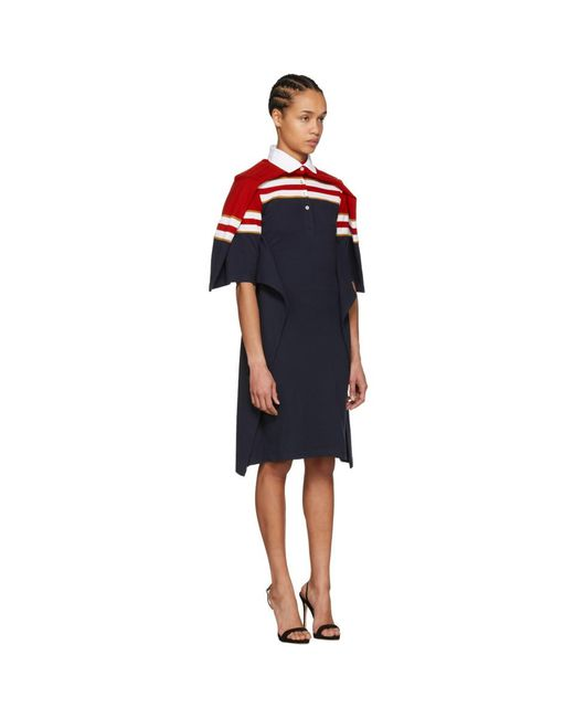 Red and Navy Striped Polo Dress Y / Project fLDdVkVs