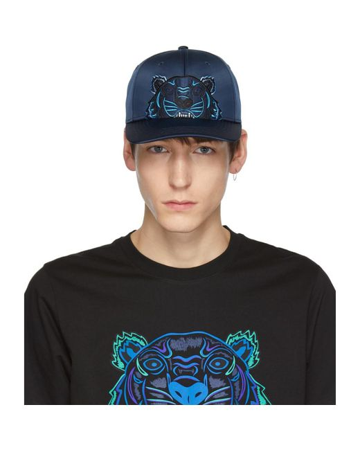 KENZO - Blue Navy Limited Edition Holiday Satin Tiger Cap for Men - Lyst