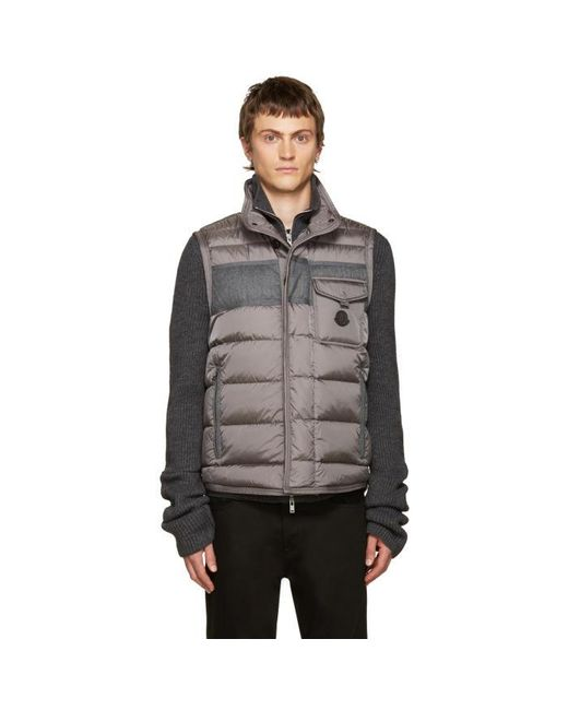 Moncler | Gray Grey Down Athos Vest for Men | Lyst
