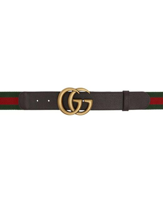 Black - Military Web Belt with Gold Brass Open Face Buckle 54 in.