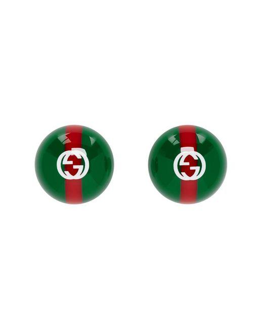 Gucci - Green グリーン And レッド ビンテージ ウェブ ピアス - Lyst