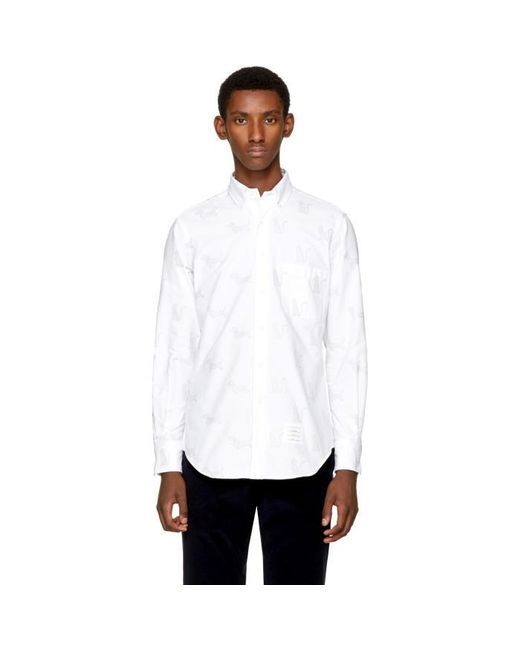 Thom browne white thom cat hector funmix classic shirt for Thom browne shirt sale
