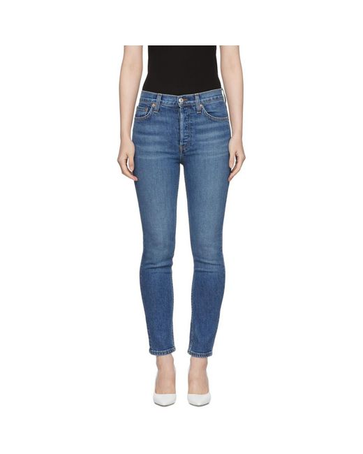 Re/done - Blue Originals High-rise Ankle Crop Jeans - Lyst