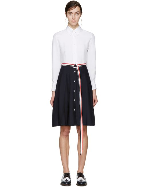 Thom browne white and navy pleated shirt dress in blue for Thom browne white shirt