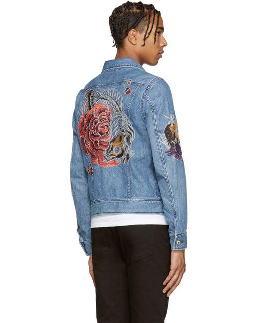 Diesel Embroidered Denim Jacket In Blue For Men  Save 20