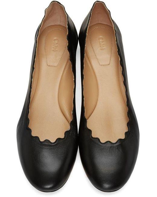 Chloé   Lauren Scalloped Patent Ballerina Flat Black   Lyst