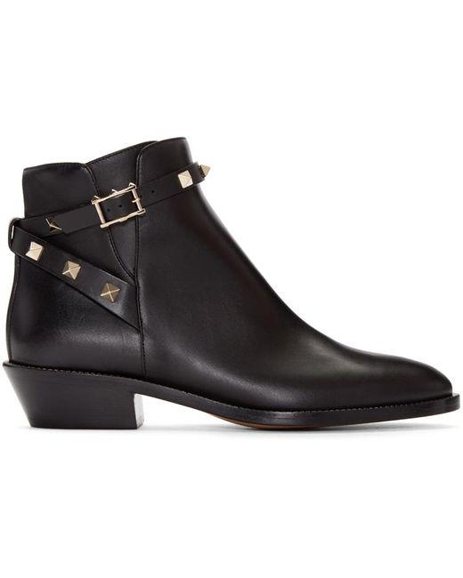 Valentino   Black 'rockstud' Leather Boots   Lyst