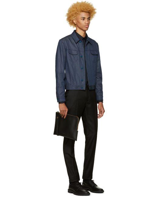 Calvin klein Black Wool Exact Trousers in Black for Men | Lyst