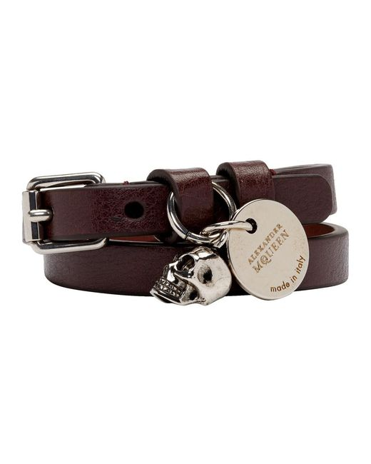 Alexander McQueen - Multicolor Burgundy And Silver Double Wrap Bracelet for Men - Lyst