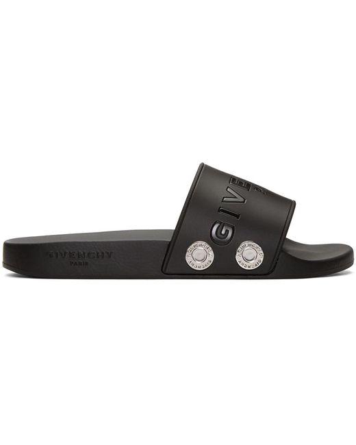 Givenchy | Black Rivet Logo Slide Sandals for Men | Lyst