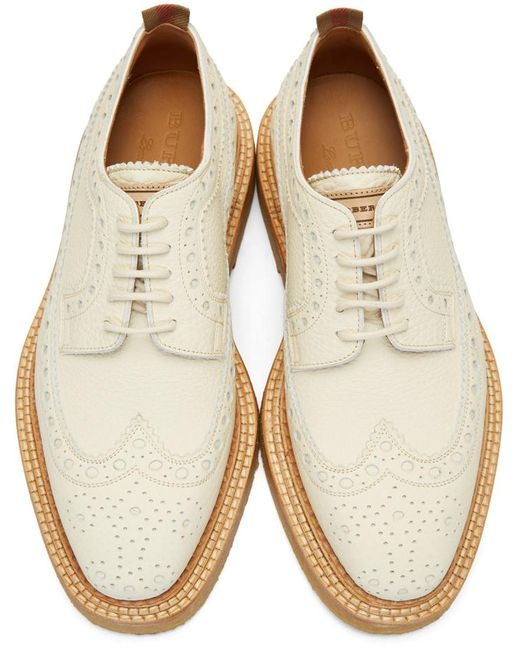 Burberry Off White Burroughs Brogues In White For Men Lyst