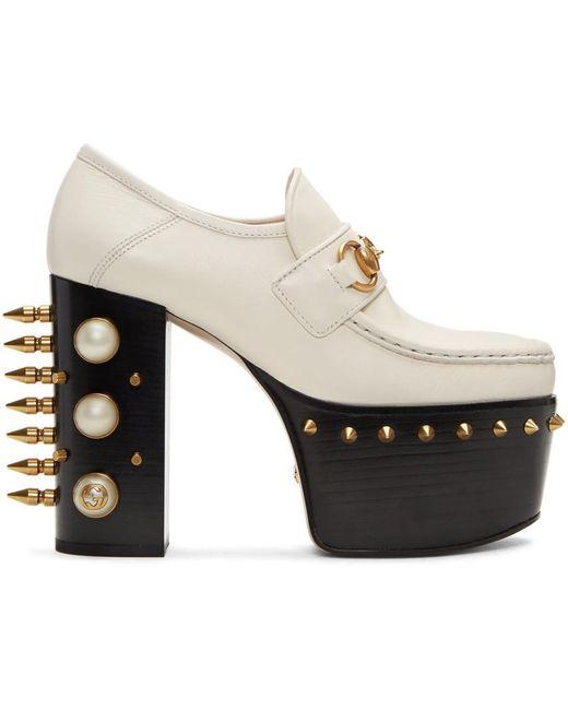 Gucci   Off-white Vegas Platform Loafer Heels   Lyst