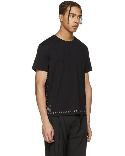 Valentino black eyelet t shirt in black for men lyst for Mens eyelet collar dress shirts