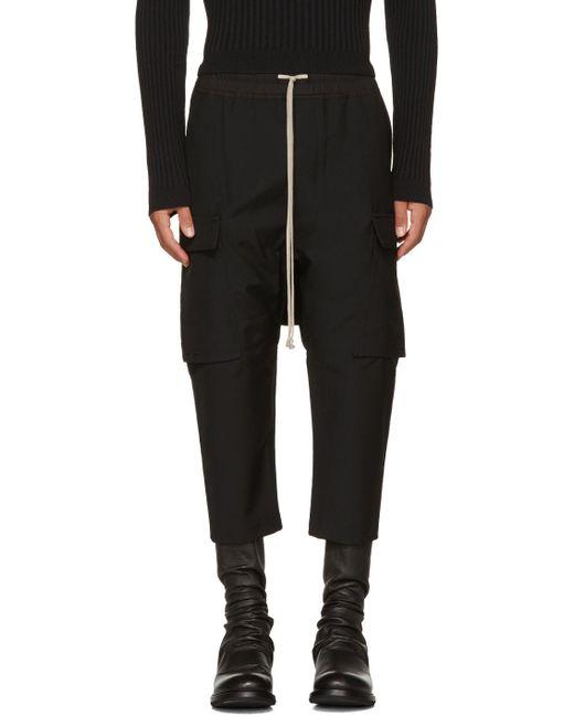 Rick Owens | Black Wool Drawstring Cropped Cargo Pants for Men | Lyst
