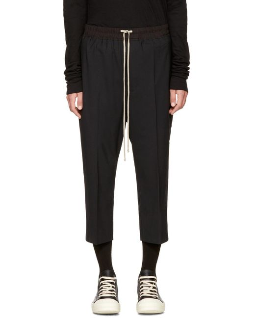 Rick Owens | Black Drawstring Cropped Astaires Lounge Pants for Men | Lyst