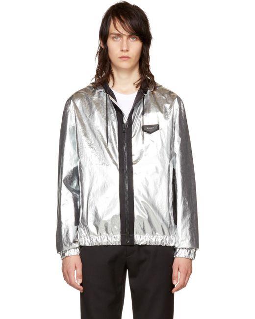 Givenchy | Metallic Silver Hooded Windbreaker for Men | Lyst