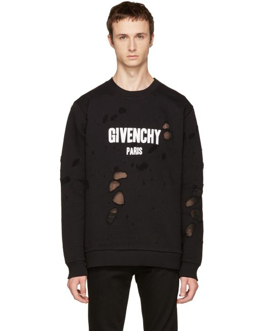 Givenchy | Black Distressed Logo Sweatshirt for Men | Lyst