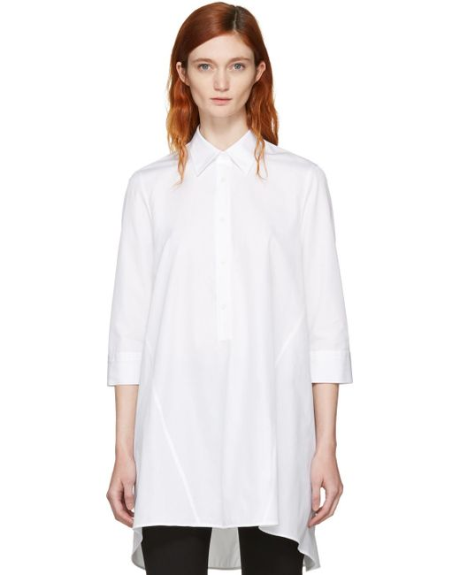 Neil Barrett | White Irregular Cut Flared Shirt | Lyst