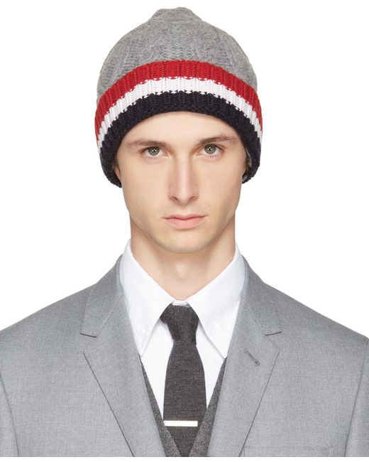 Thom Browne | Gray Grey & Tricolor Merino Aran Cable Beanie for Men | Lyst